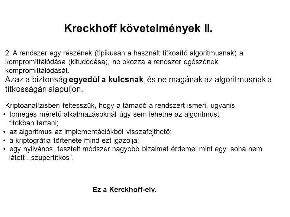 Kreckhoff követelmények II. 2. A rendszer egy részének (tipikusan a használt titkosító algoritmusnak) a kompromittálódása (kitudódása), ne okozza a re