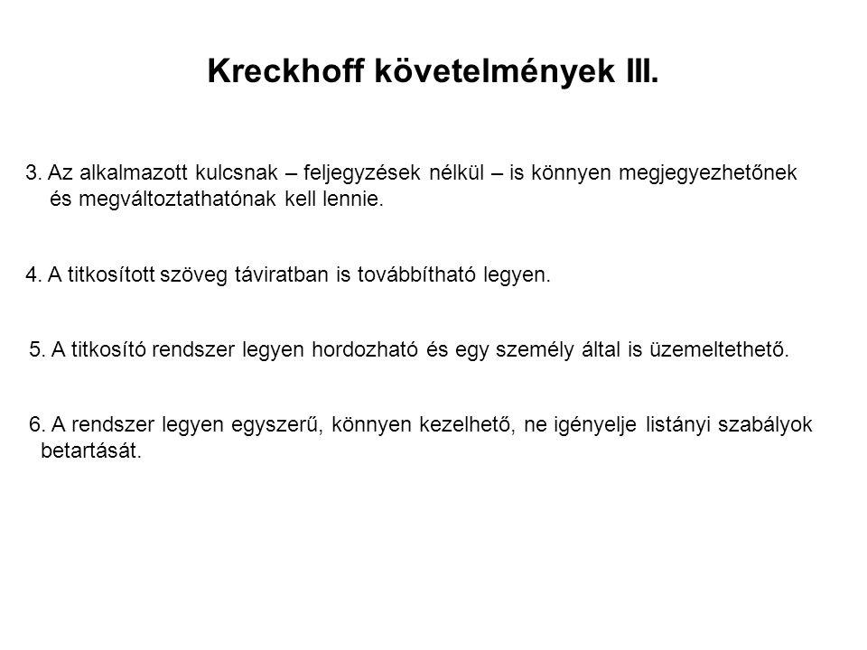 Kreckhoff követelmények III. 3. Az alkalmazott kulcsnak – feljegyzések nélkül – is könnyen megjegyezhetőnek és megváltoztathatónak kell lennie. 4. A t