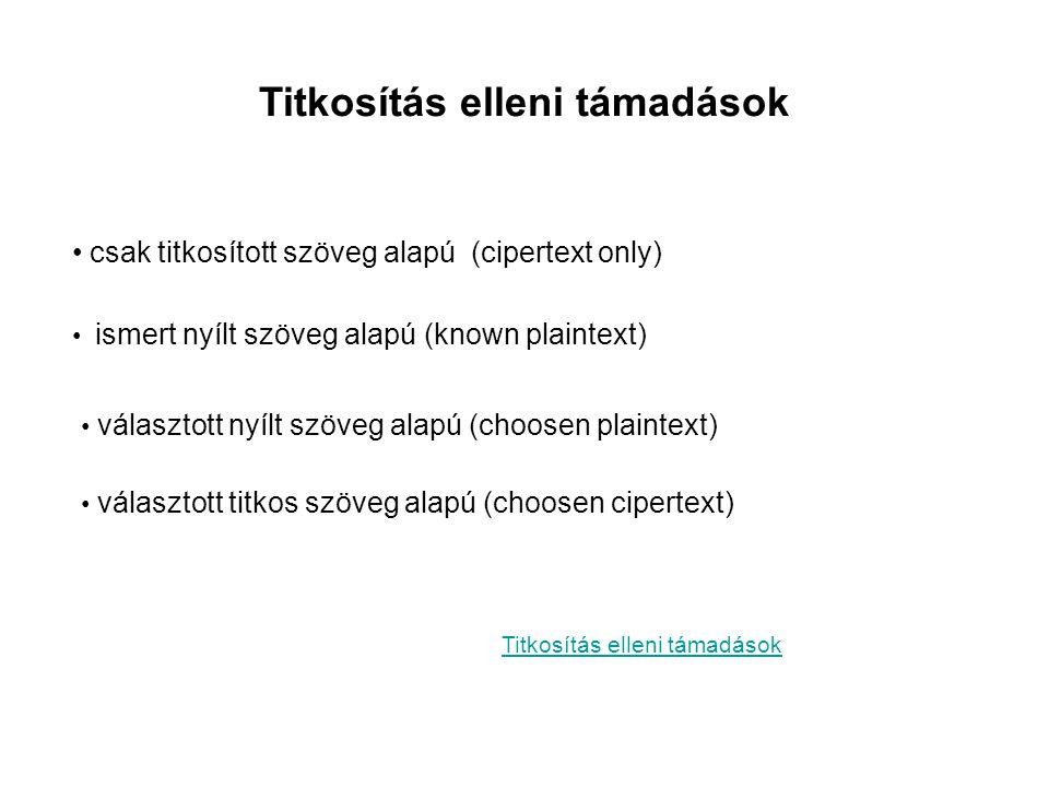 Titkosítás elleni támadások • csak titkosított szöveg alapú (cipertext only) Titkosítás elleni támadások • ismert nyílt szöveg alapú (known plaintext)