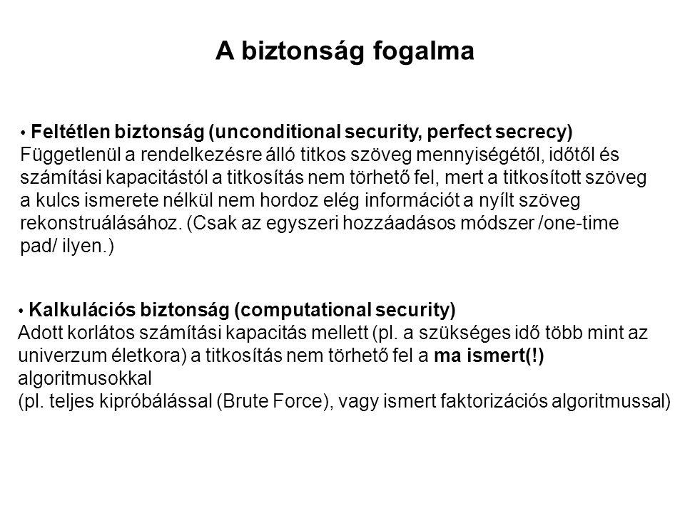 A biztonság fogalma • Feltétlen biztonság (unconditional security, perfect secrecy) Függetlenül a rendelkezésre álló titkos szöveg mennyiségétől, időt