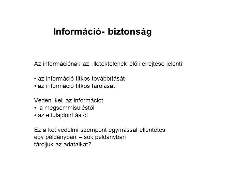 Az információnak az illetéktelenek előli elrejtése jelenti • az információ titkos továbbítását • az információ titkos tárolását Védeni kell az informá