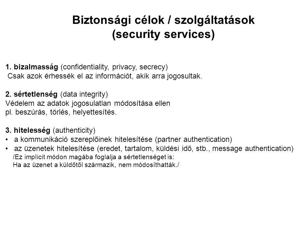 Biztonsági célok / szolgáltatások (security services) 1. bizalmasság (confidentiality, privacy, secrecy) Csak azok érhessék el az információt, akik ar