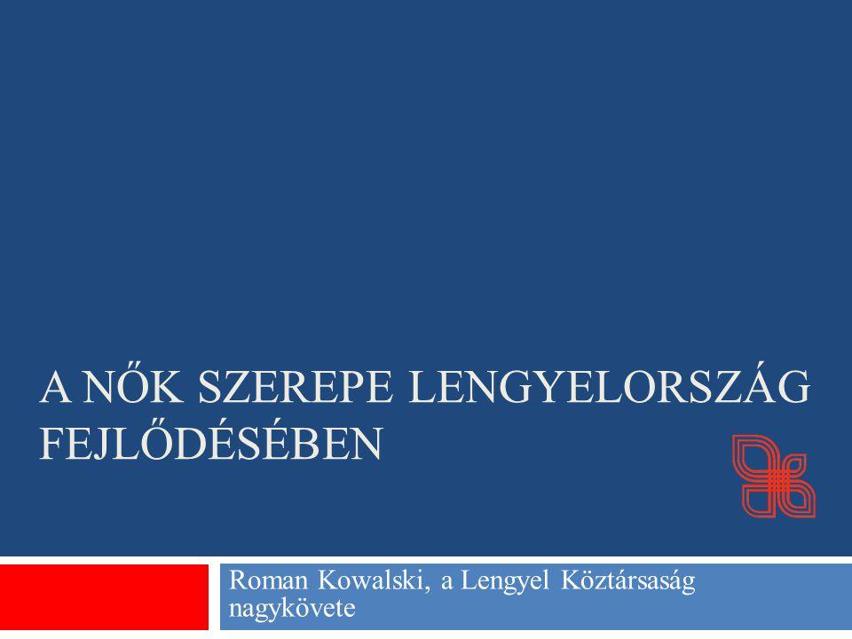 Nők a lengyel törvényhozásban Ewa Kopacz, a Szejm elnöke A 460 tagú Szejmben a képviselők 23%-a (110 fő) nő.
