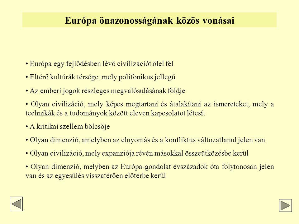 """Az Európa-gondolat két síkja Az európai politika földrajzi határaiAz európai identitás polémia • EU: """"nyitott / """"több Európa • Európa Tanács: szoros földrajzi-területi kritérium híve • OSCE / CSCE : Tágabb Európa- felfogás (USA, Kanada, Közép- Ázsia volt szovjet utódállamok) • Európa Bizottság: Tágabb Európa-terv, 2003 • posztnacionalista """"hullám • kettős identitás (EU-szintű, nemzeti szintű) • multikulturális • kommunotarizmus • új európai ember / polgár • kozmopolita"""