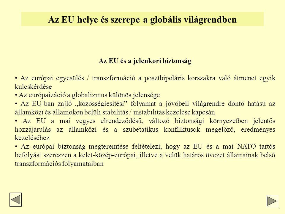 """Az EU helye és szerepe a globális világrendben Attitűdök, álláspontok az európai integrációra vonatkozóan - centralisták / """"szabályozás-pártiak - liberalisták / """"dereguláció-pártiak - integralista irányultság - föderalista irányultság - euroglobalisták - euroszkepticizmus / ultraszeptikusok - eurooptimizmus - euroenthuzianizmus - euroszklerózis-hirdetők - europragmatizmus"""