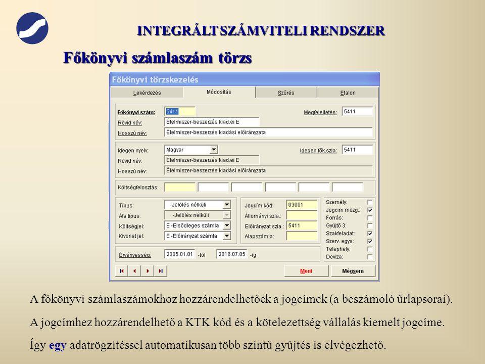 A főkönyvi számlaszámokhoz hozzárendelhetőek a jogcímek (a beszámoló űrlapsorai). A jogcímhez hozzárendelhető a KTK kód és a kötelezettség vállalás ki