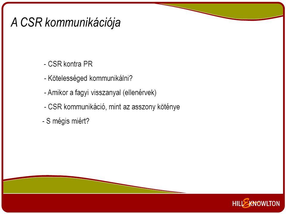 A CSR kommunikációja - CSR kontra PR - Kötelességed kommunikálni? - Amikor a fagyi visszanyal (ellenérvek) - CSR kommunikáció, mint az asszony köténye
