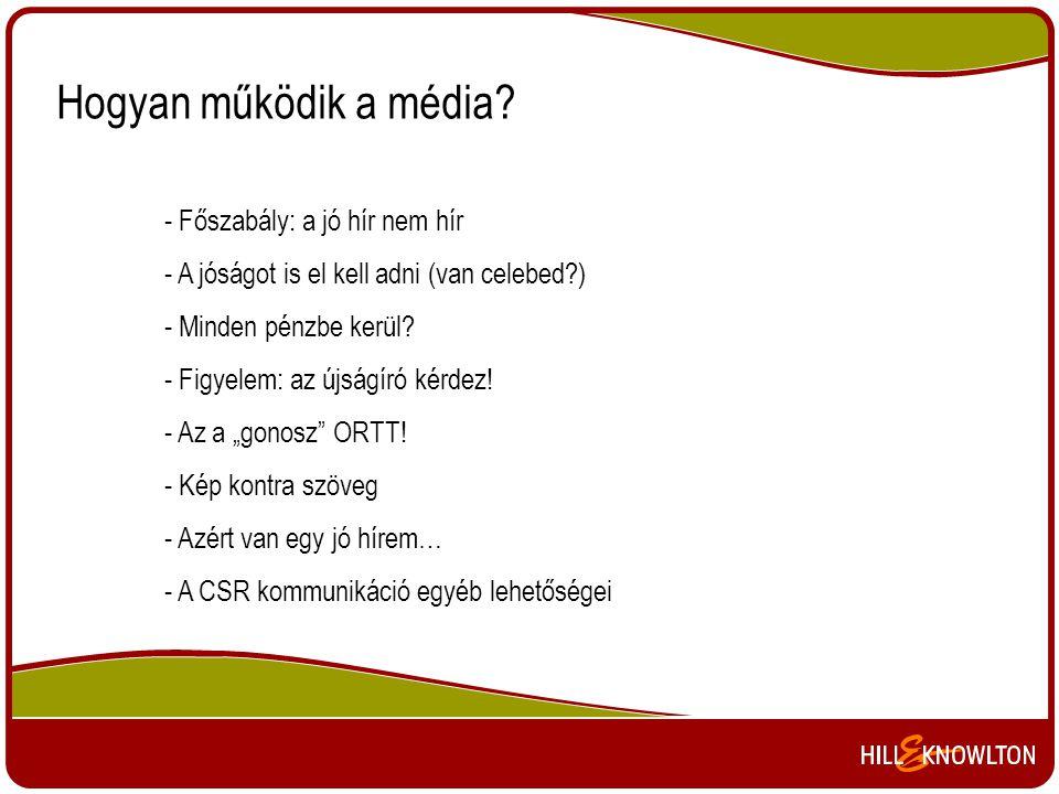 Hogyan működik a média? - Főszabály: a jó hír nem hír - A jóságot is el kell adni (van celebed?) - Minden pénzbe kerül? - Figyelem: az újságíró kérdez