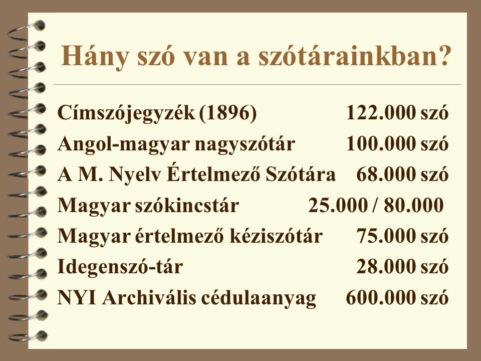 Hány szó van a szótárainkban? Címszójegyzék (1896)122.000 szó Angol-magyar nagyszótár100.000 szó A M. Nyelv Értelmező Szótára 68.000 szó Magyar szókin