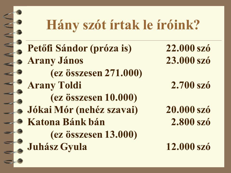 Hány szót írtak le íróink? Petőfi Sándor (próza is)22.000 szó Arany János23.000 szó (ez összesen 271.000) Arany Toldi 2.700 szó (ez összesen 10.000) J