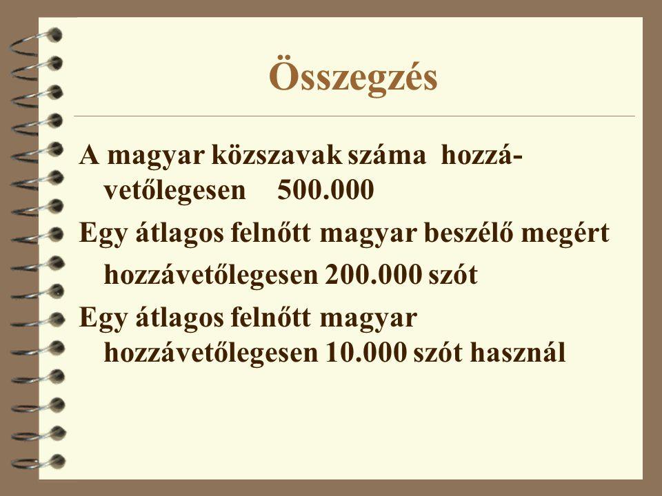 Összegzés A magyar közszavak száma hozzá- vetőlegesen500.000 Egy átlagos felnőtt magyar beszélő megért hozzávetőlegesen 200.000 szót Egy átlagos felnőtt magyar hozzávetőlegesen 10.000 szót használ