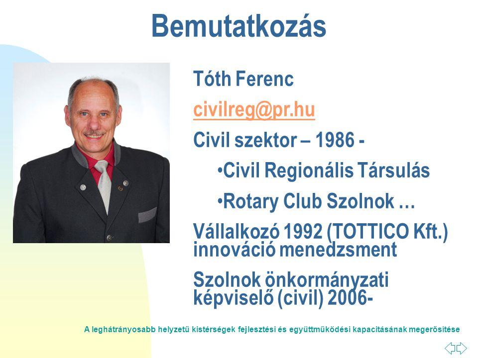 A leghátrányosabb helyzetű kistérségek fejlesztési és együttműködési kapacitásának megerősítése Bemutatkozás Tóth Ferenc civilreg@pr.hu Civil szektor – 1986 - • Civil Regionális Társulás • Rotary Club Szolnok … Vállalkozó 1992 (TOTTICO Kft.) innováció menedzsment Szolnok önkormányzati képviselő (civil) 2006-