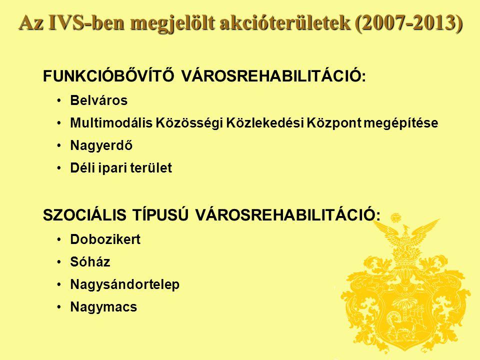 Az IVS-ben megjelölt akcióterületek (2007-2013) FUNKCIÓBŐVÍTŐ VÁROSREHABILITÁCIÓ: • Belváros • Multimodális Közösségi Közlekedési Központ megépítése • Nagyerdő • Déli ipari terület SZOCIÁLIS TÍPUSÚ VÁROSREHABILITÁCIÓ: • Dobozikert • Sóház • Nagysándortelep • Nagymacs