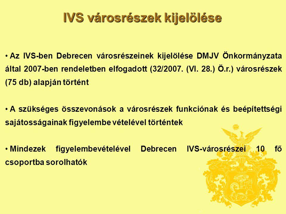 IVS városrészek kijelölése • Az IVS-ben Debrecen városrészeinek kijelölése DMJV Önkormányzata által 2007-ben rendeletben elfogadott (32/2007.