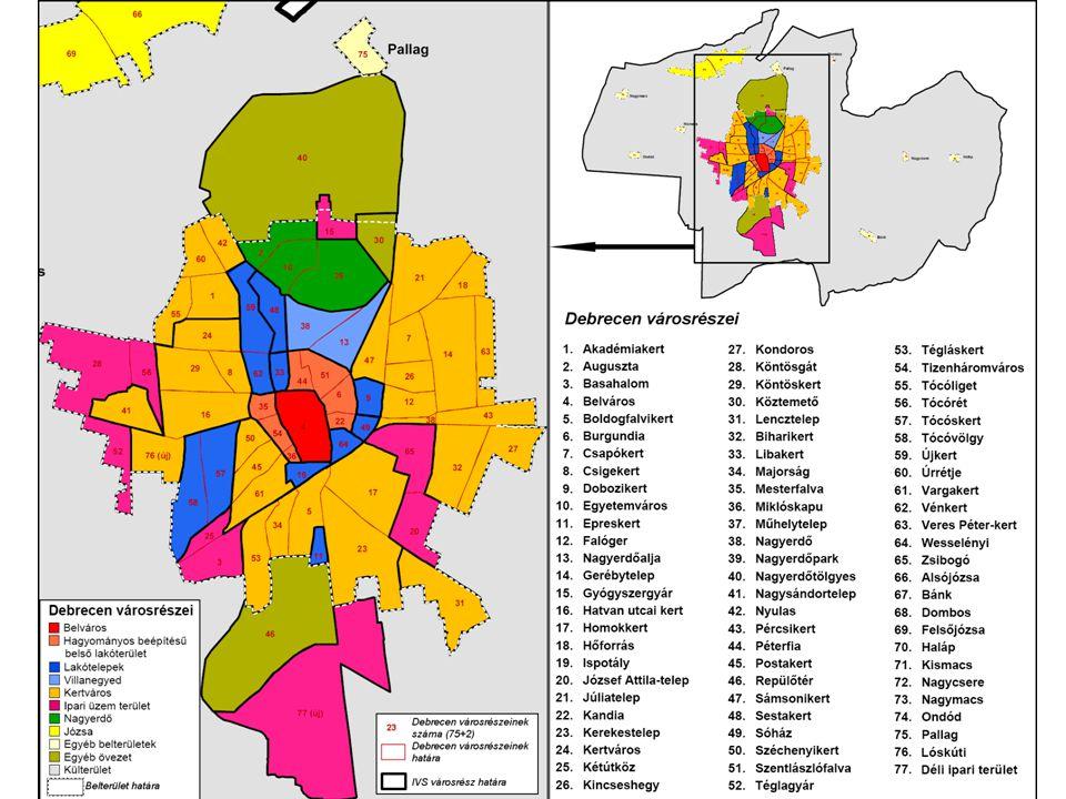 Anti-szegregációs terv • Az anti-szegregációs terv megvizsgálja, hogy a városban van-e szegregált lakókörnyezet (telep, telepszerű lakókörnyezet), ha igen, akkor feltárja ezen területek problémáit, és elemzi, hogy a tervezett fejlesztések hogyan befolyásolják a szegregációt • Anti-szegregációs terv készítése megyei jogú városoknak kötelező • A szegregátumok kijelölésének alapja a KSH 2001-es népszámlálási adatai alapján számított ún.