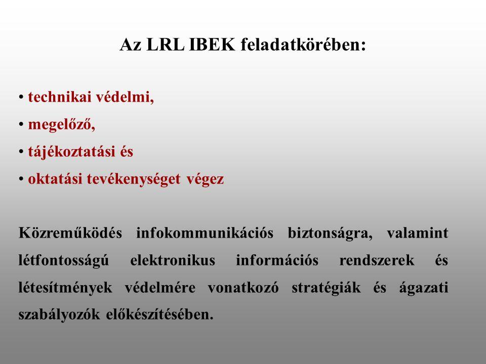 Az LRL IBEK feladatkörében: • technikai védelmi, • megelőző, • tájékoztatási és • oktatási tevékenységet végez Közreműködés infokommunikációs biztonsá