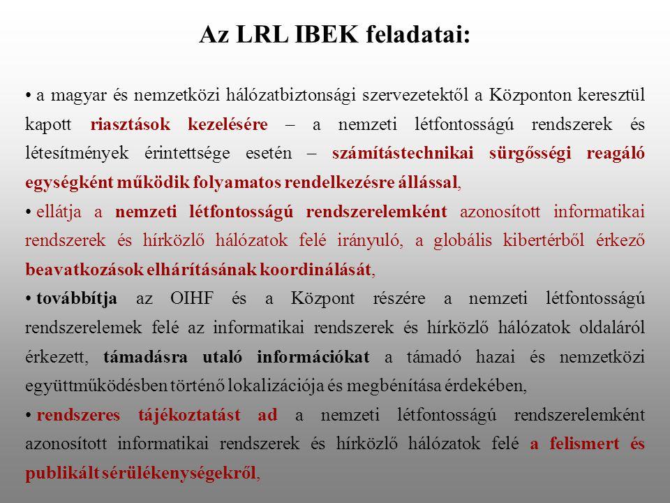 Az LRL IBEK feladatai: • a magyar és nemzetközi hálózatbiztonsági szervezetektől a Központon keresztül kapott riasztások kezelésére – a nemzeti létfon