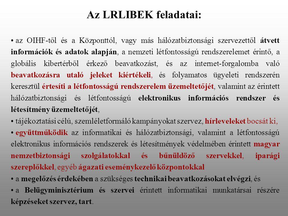 Az LRLIBEK feladatai: • az OIHF-től és a Központtól, vagy más hálózatbiztonsági szervezettől átvett információk és adatok alapján, a nemzeti létfontos