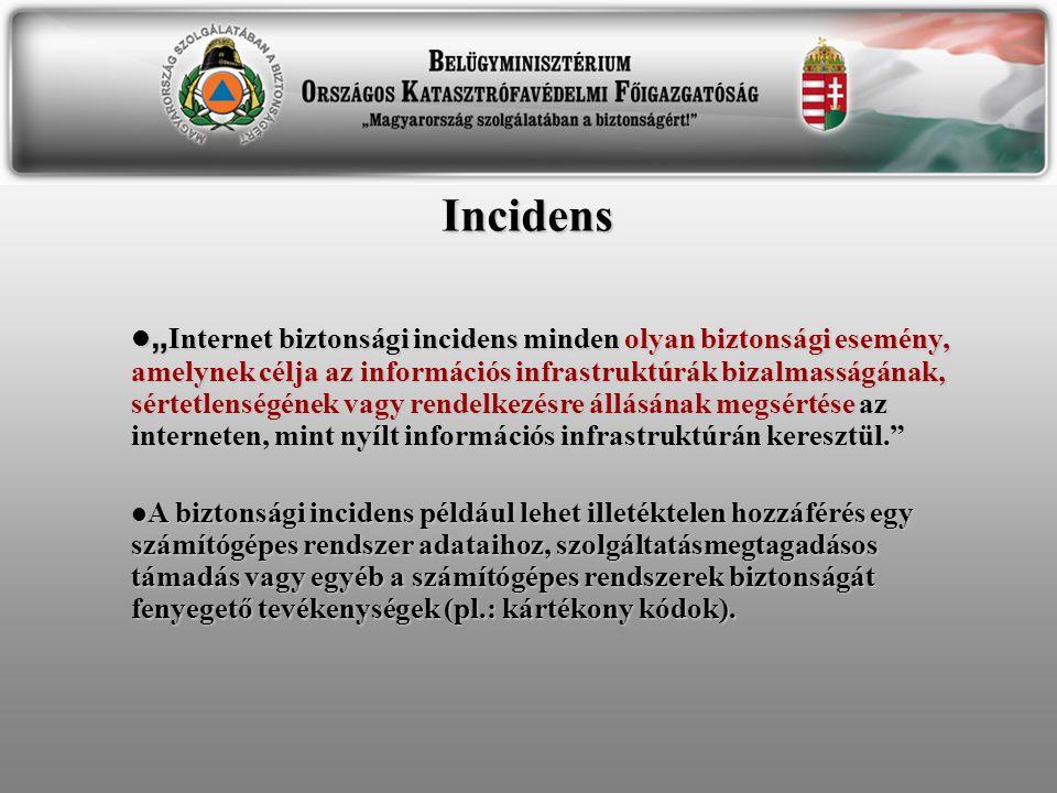 """Incidens  """" Internet biztonsági incidens minden olyan biztonsági esemény, amelynek célja az információs infrastruktúrák bizalmasságának, sértetlenség"""