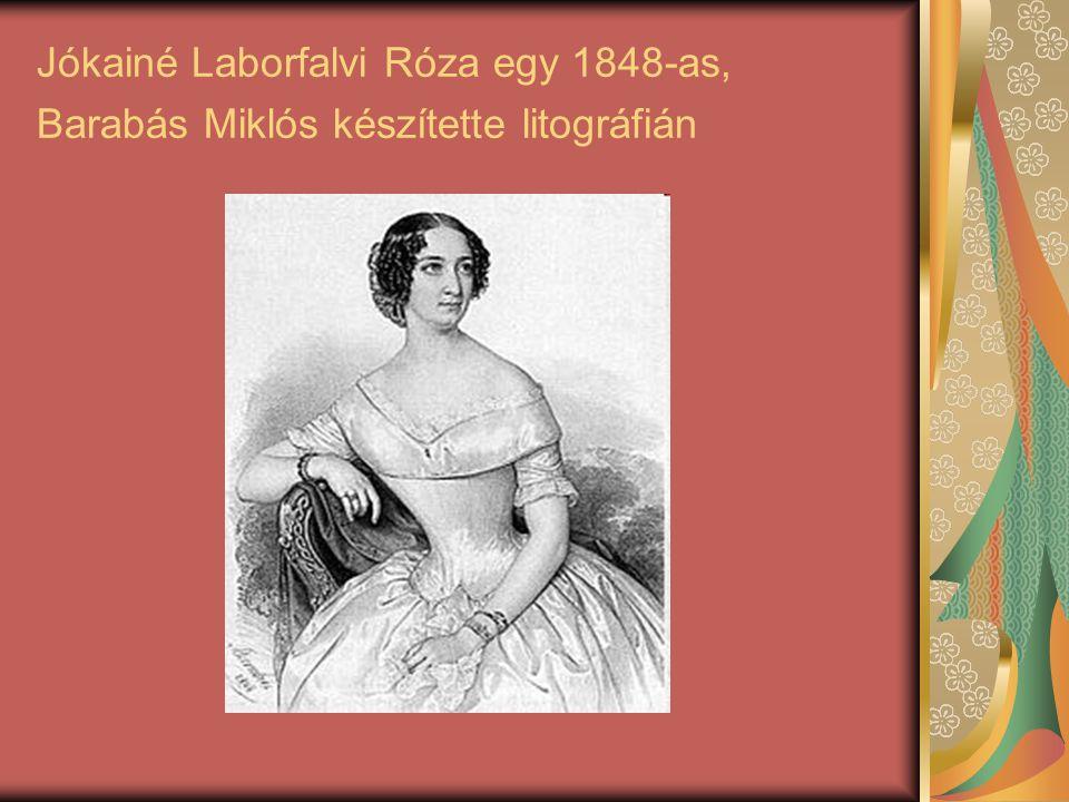 Jókainé Laborfalvi Róza egy 1848-as, Barabás Miklós készítette litográfián