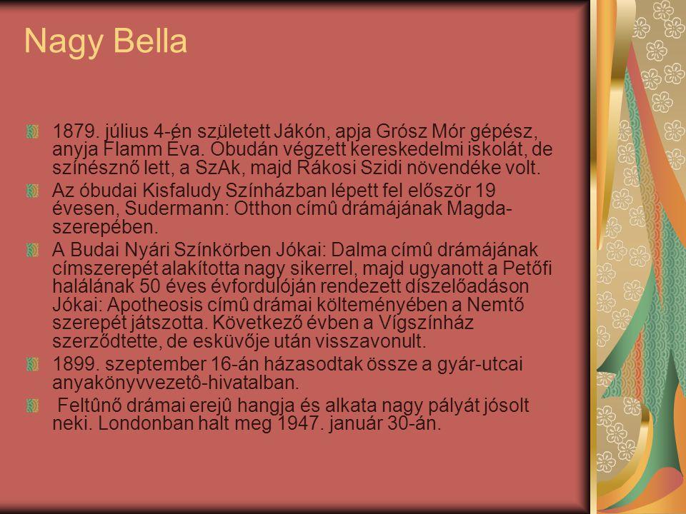 Nagy Bella 1879. július 4-én született Jákón, apja Grósz Mór gépész, anyja Flamm Éva. Óbudán végzett kereskedelmi iskolát, de színésznő lett, a SzAk,