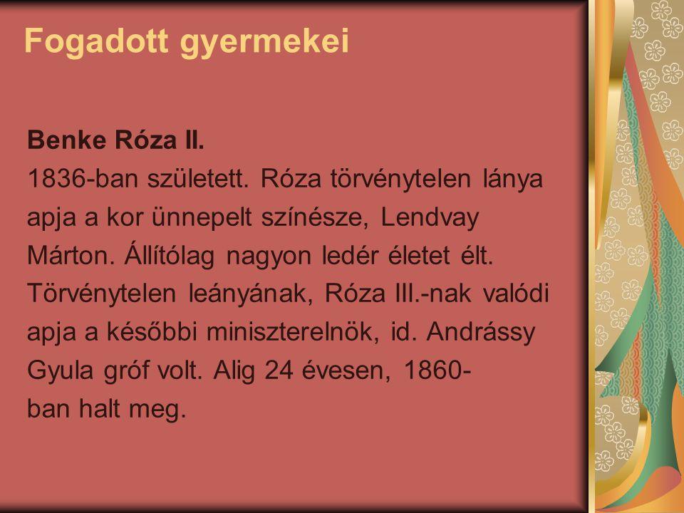 Fogadott gyermekei Benke Róza II. 1836-ban született. Róza törvénytelen lánya apja a kor ünnepelt színésze, Lendvay Márton. Állítólag nagyon ledér éle