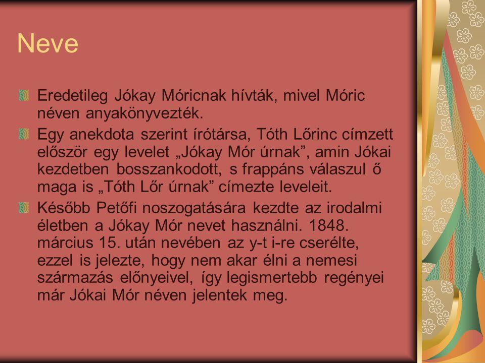 """Neve Eredetileg Jókay Móricnak hívták, mivel Móric néven anyakönyvezték. Egy anekdota szerint írótársa, Tóth Lőrinc címzett először egy levelet """"Jókay"""