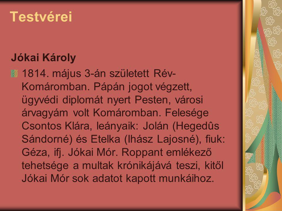 Testvérei Jókai Károly 1814. május 3-án született Rév- Komáromban. Pápán jogot végzett, ügyvédi diplomát nyert Pesten, városi árvagyám volt Komáromban