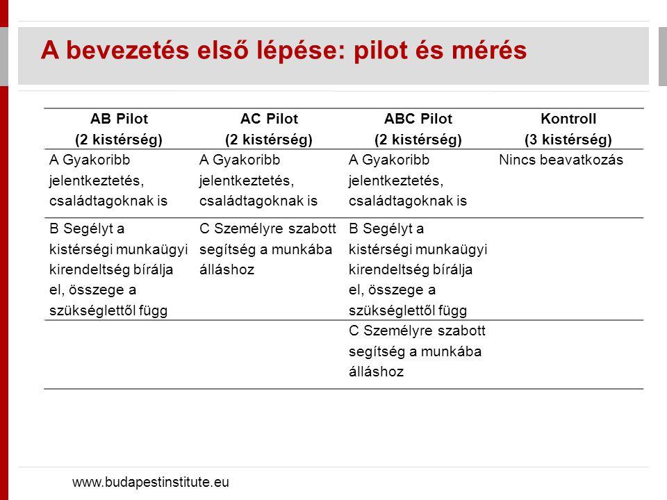 A bevezetés első lépése: pilot és mérés www.budapestinstitute.eu AB Pilot (2 kistérség) AC Pilot (2 kistérség) ABC Pilot (2 kistérség) Kontroll (3 kistérség) A Gyakoribb jelentkeztetés, családtagoknak is Nincs beavatkozás B Segélyt a kistérségi munkaügyi kirendeltség bírálja el, összege a szükséglettől függ C Személyre szabott segítség a munkába álláshoz B Segélyt a kistérségi munkaügyi kirendeltség bírálja el, összege a szükséglettől függ C Személyre szabott segítség a munkába álláshoz