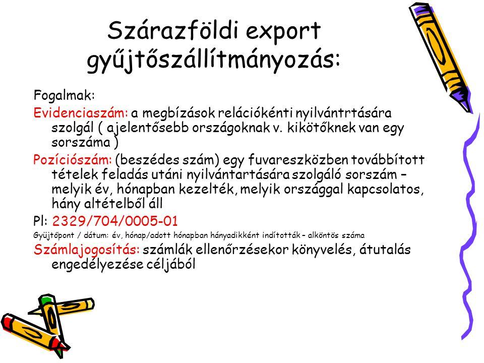 Szárazföldi export gyűjtőszállítmányozás: Fogalmak: Evidenciaszám: a megbízások relációkénti nyilvántrtására szolgál ( ajelentősebb országoknak v. kik