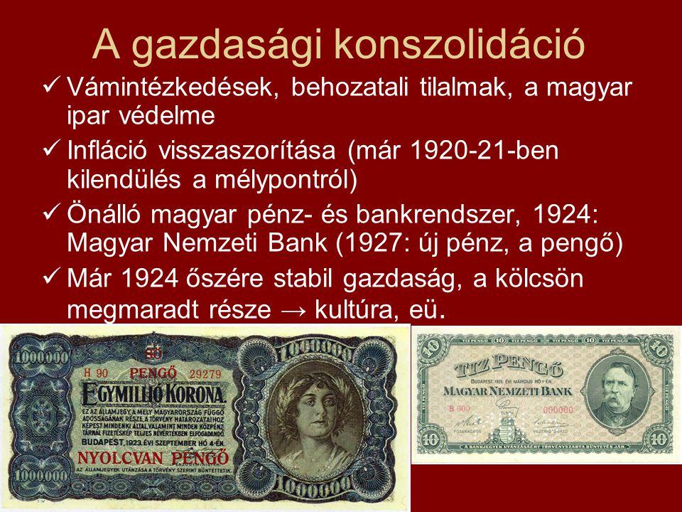 A gazdasági konszolidáció  Vámintézkedések, behozatali tilalmak, a magyar ipar védelme  Infláció visszaszorítása (már 1920-21-ben kilendülés a mélyp