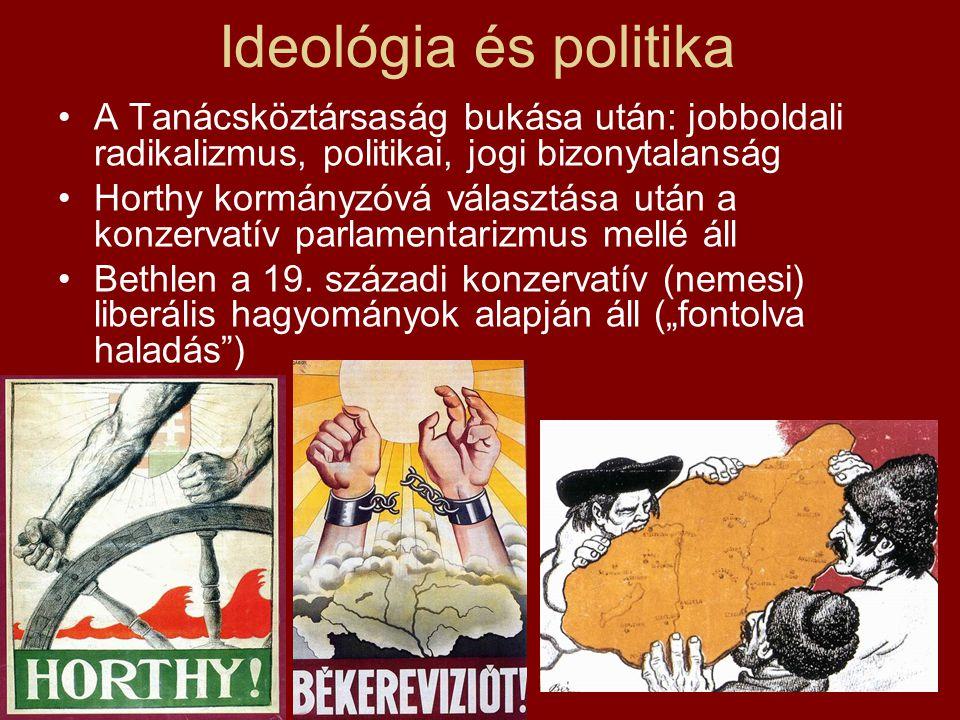 Ideológia és politika •A Tanácsköztársaság bukása után: jobboldali radikalizmus, politikai, jogi bizonytalanság •Horthy kormányzóvá választása után a