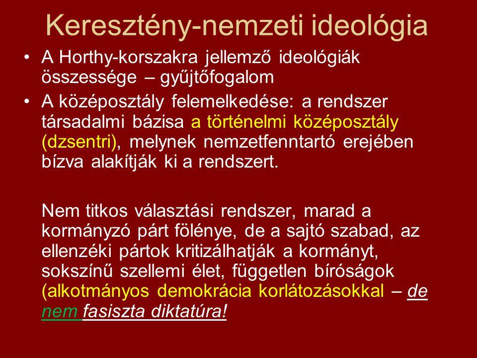Keresztény-nemzeti ideológia •A Horthy-korszakra jellemző ideológiák összessége – gyűjtőfogalom •A középosztály felemelkedése: a rendszer társadalmi b