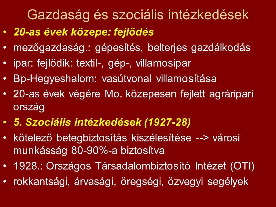 Gazdaság és szociális intézkedések •20-as évek közepe: fejlődés •mezőgazdaság.: gépesítés, belterjes gazdálkodás •ipar: fejlődik: textil-, gép-, villa