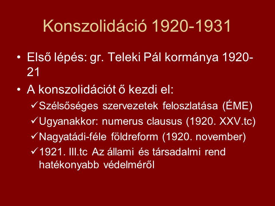 Konszolidáció 1920-1931 •Első lépés: gr. Teleki Pál kormánya 1920- 21 •A konszolidációt ő kezdi el:  Szélsőséges szervezetek feloszlatása (ÉME)  Ugy