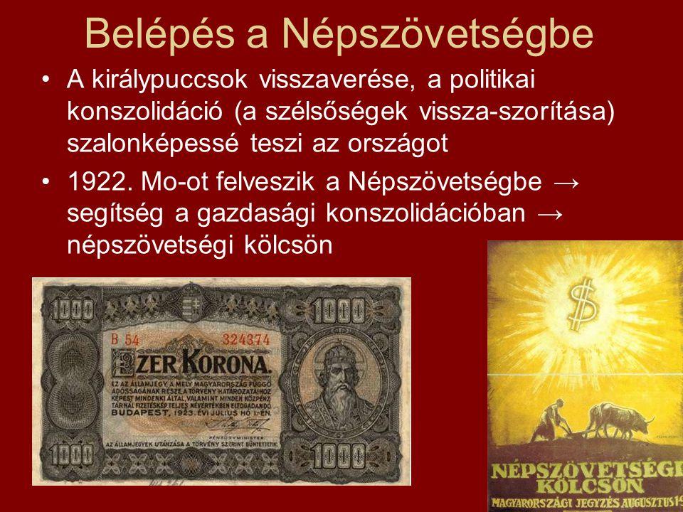 A gazdasági konszolidáció  Vámintézkedések, behozatali tilalmak, a magyar ipar védelme  Infláció visszaszorítása (már 1920-21-ben kilendülés a mélypontról)  Önálló magyar pénz- és bankrendszer, 1924: Magyar Nemzeti Bank (1927: új pénz, a pengő)  Már 1924 őszére stabil gazdaság, a kölcsön megmaradt része → kultúra, eü.