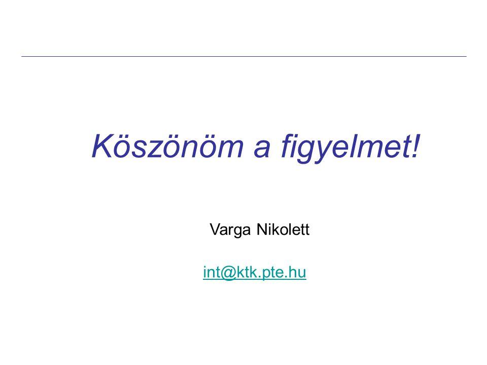Köszönöm a figyelmet! Varga Nikolett int@ktk.pte.hu int@ktk.pte.hu