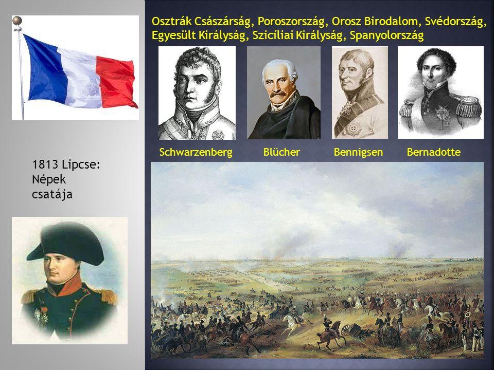 1813 Lipcse: Népek csatája Osztrák Császárság, Poroszország, Orosz Birodalom, Svédország, Egyesült Királyság, Szicíliai Királyság, Spanyolország Schwarzenberg Blücher Bennigsen Bernadotte