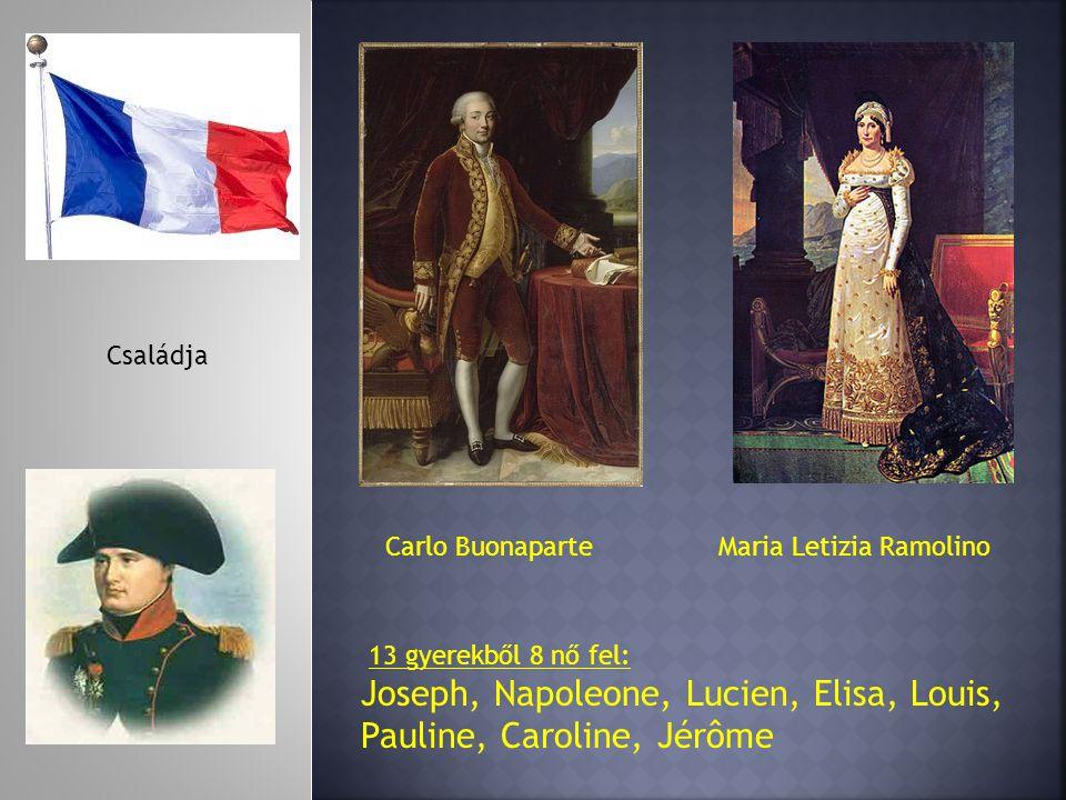 Carlo BuonaparteMaria Letizia Ramolino 13 gyerekből 8 nő fel: Joseph, Napoleone, Lucien, Elisa, Louis, Pauline, Caroline, Jérôme Családja