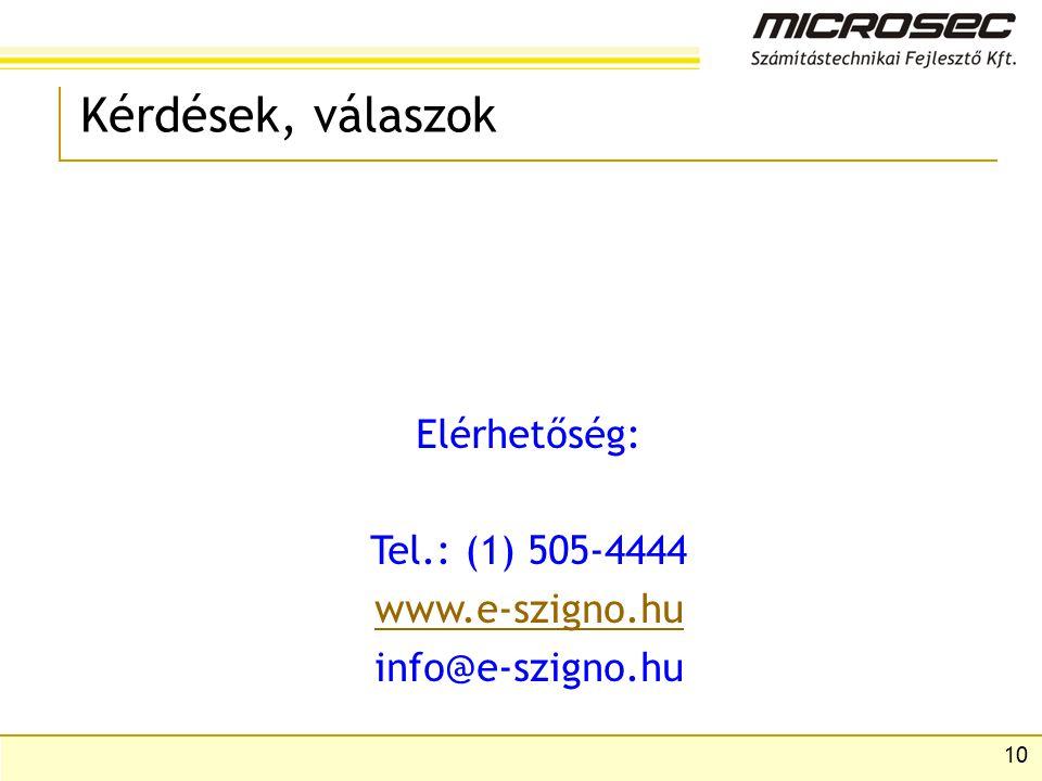 10 Kérdések, válaszok Elérhetőség: Tel.: (1) 505-4444 www.e-szigno.hu info@e-szigno.hu