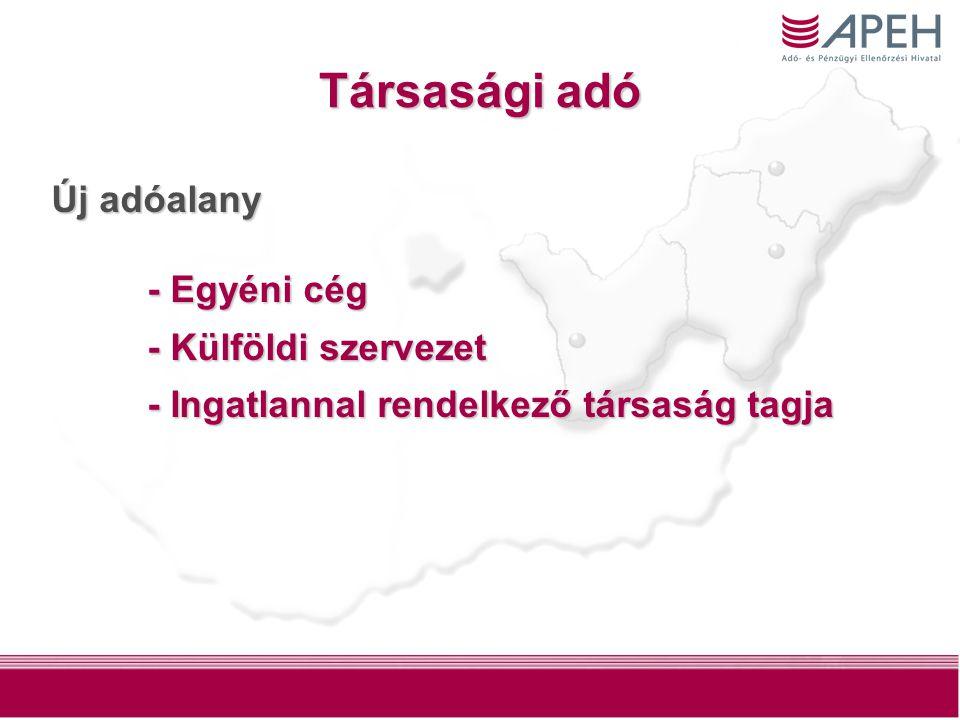 2 Társasági adó Új adóalany - Egyéni cég - Külföldi szervezet - Ingatlannal rendelkező társaság tagja