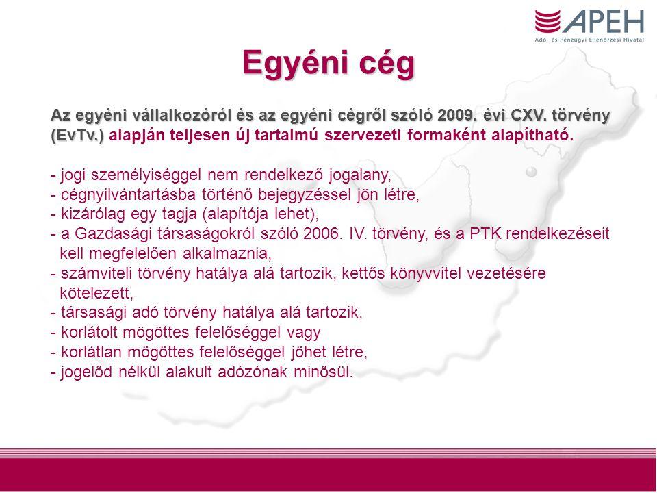 3 Egyéni cég Az egyéni vállalkozóról és az egyéni cégről szóló 2009.