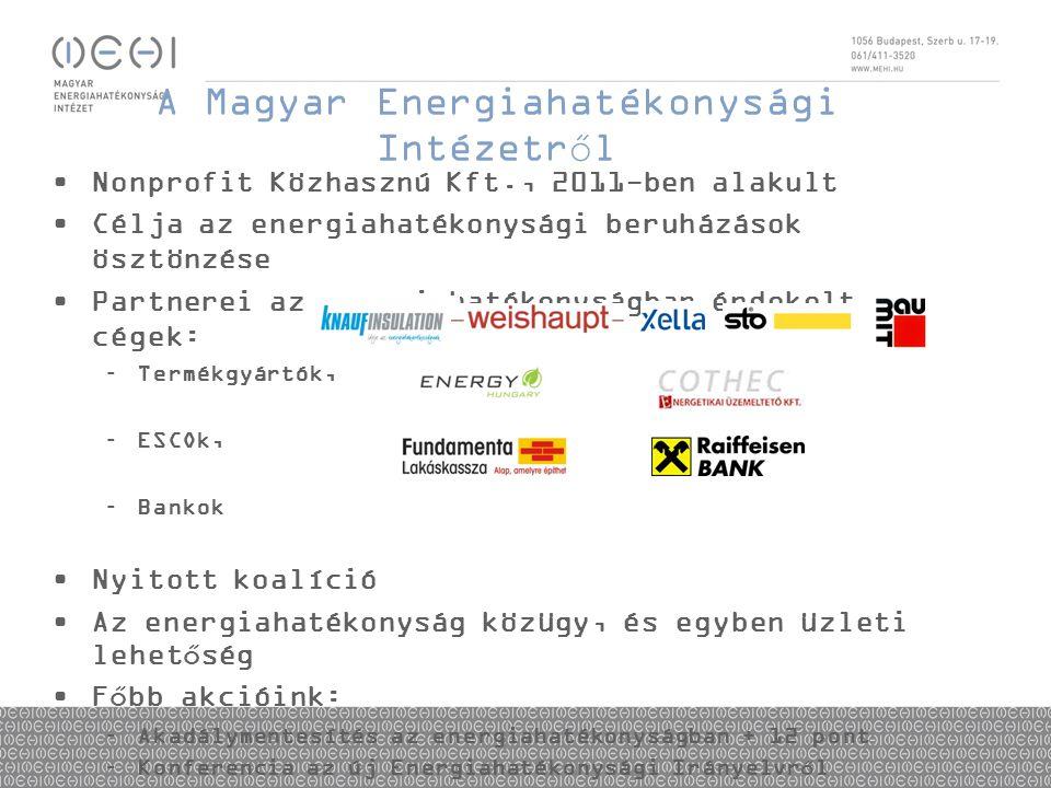 A Magyar Energiahatékonysági Intézetről •Nonprofit Közhasznú Kft., 2011-ben alakult •Célja az energiahatékonysági beruházások ösztönzése •Partnerei az