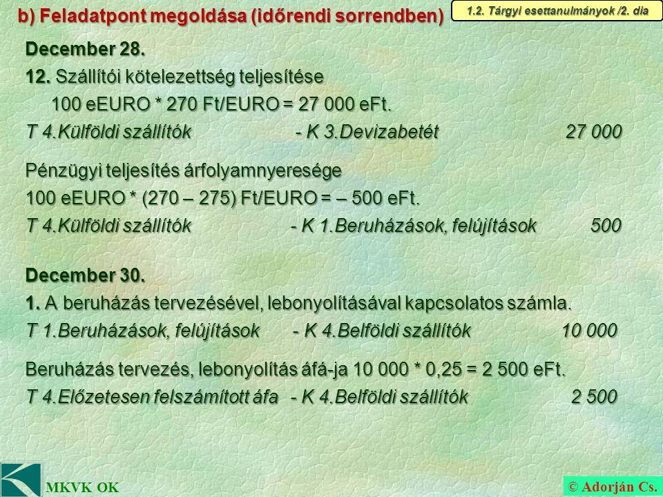 © Adorján Cs. MKVK OK b) Feladatpont megoldása (időrendi sorrendben) December 28.