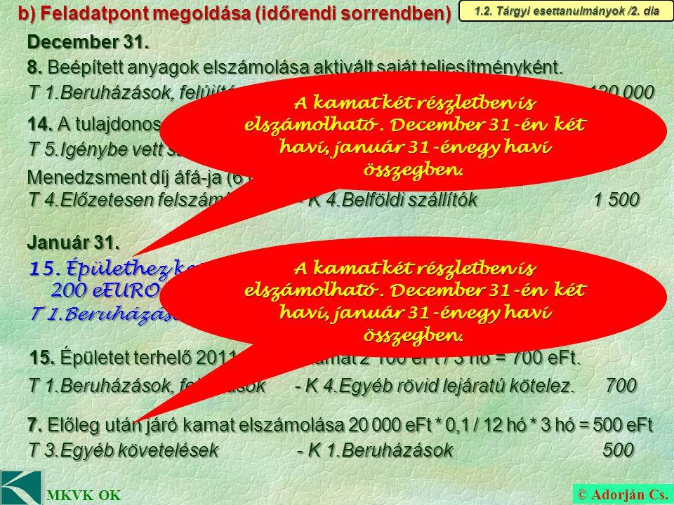 © Adorján Cs. MKVK OK b) Feladatpont megoldása (időrendi sorrendben) 14.