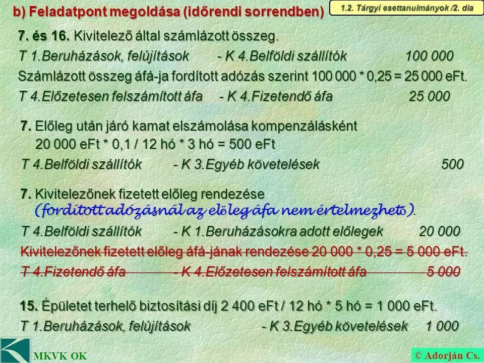 © Adorján Cs. MKVK OK b) Feladatpont megoldása (időrendi sorrendben) 7.