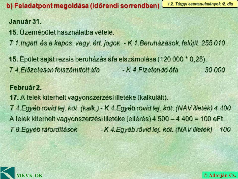 © Adorján Cs. MKVK OK b) Feladatpont megoldása (időrendi sorrendben) Február 2.