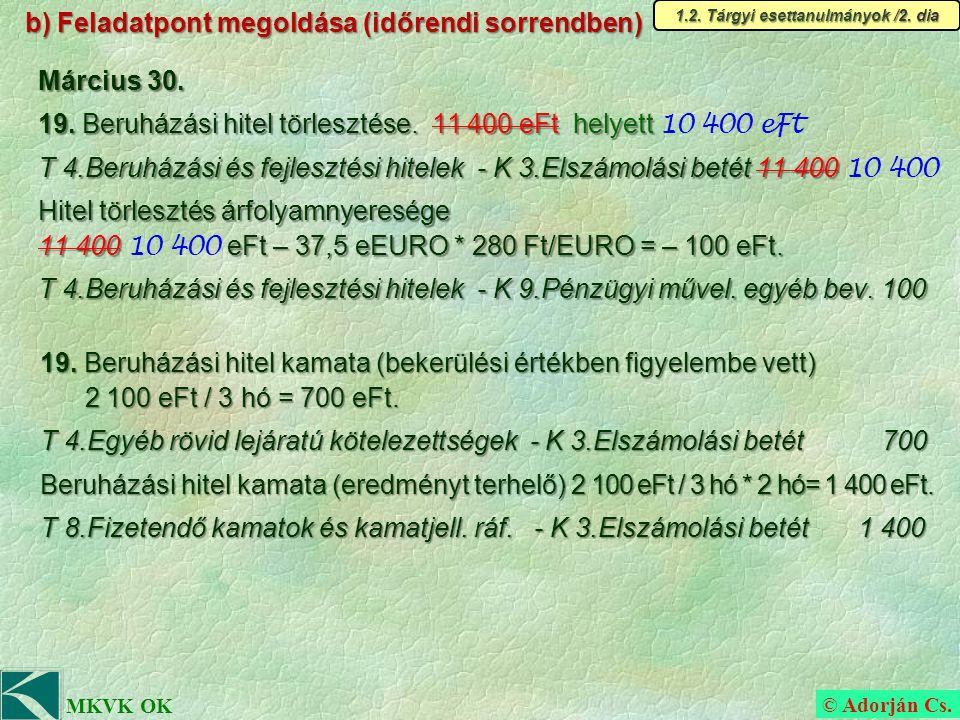 © Adorján Cs. MKVK OK b) Feladatpont megoldása (időrendi sorrendben) 1.2.