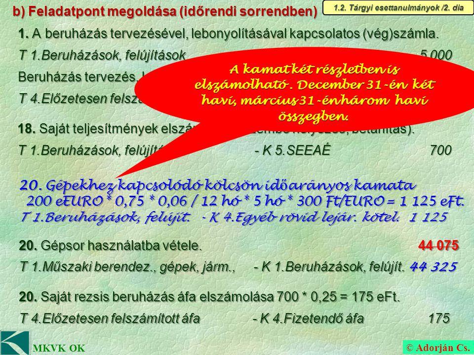 © Adorján Cs. MKVK OK b) Feladatpont megoldása (időrendi sorrendben) 1.