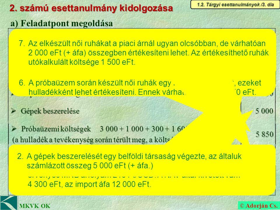 © Adorján Cs. MKVK OK 2. számú esettanulmány kidolgozása 1.2.